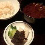 雲海 - 2013.9-8 【秋の味覚会席】 止椀 赤出汁 食事 鯛ご飯(メニュー表では栗ご飯となっています)
