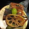 葉山 日影茶屋 - 料理写真:【共通メニュー】 前菜の穴子の押し寿司・鮎の有馬煮・サーモンの砧巻き