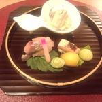 21316655 - 前菜3種(しゃけの白子、さば寿司、白ナスの胡麻和え)