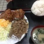 あさチャン - 2種ミックス定食1000円 唐揚げ