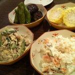 きりしま - ポテトサラダ、ゴーやチャンプル、ゆでコーン、なすのたいたん