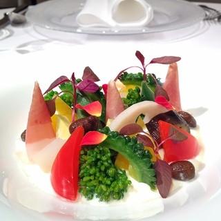 レストラン ラッセ - 料理写真:季節の彩り野菜と生ハムのインサラータ フォンデュータソース