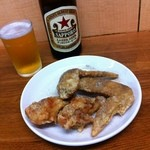 中華料理 桃園 - 唐揚4本・瓶ビール