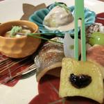 和楽 - <9月夜>八寸、しず柚庵焼き、新銀杏松葉、生湯葉、いちじく酒蒸し、生麩田楽