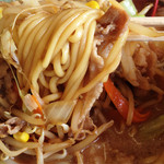 金太郎ラーメン - 中太麺にも味噌味が浸み込んでいて、イメージは味噌煮込みチャンポン。