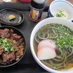 よもぎうどん - 牛すじ丼定食 680円