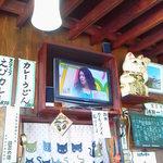 たつ食堂 - 2013.9 招き猫がお出迎え 食堂にテレビは欠かせません