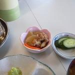 たつ食堂 - 2013.9 小鉢 大根と鶏 きゅうり浅漬け