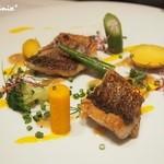 レザンドールザ陽明クラブ - ・メバルのポアレと旬の茹で野菜・海老のエキスとサフランのソース