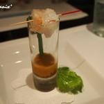 レザンドールザ陽明クラブ - ・ボタン海老の炙りとコンソメジュレ・ムラサキウニのソース