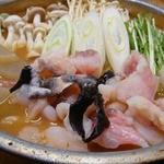 さわらや - 料理写真:【あんこう鍋】あん肝と合わせ味噌を練って一晩寝かせて作るどぶ出汁で♪ 身にはビタミンB12、B1、ナイアシンガ含まれていて健康維持にも効果的!