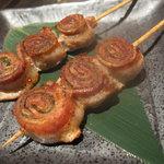 ねぎと卵  - 豚の梅しそ巻 380円