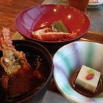 鳥羽グランドホテル - 伊勢海老の煮物?に味噌汁。胡麻豆腐。エビは小ぶりです。お味噌汁は赤みそでした。