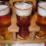 札幌開拓使 サッポロファクトリー店 - 地ビール飲み比べセットです。ビールが3種類飲める嬉しいセットです。未濾過、クラーク、ハリーです。