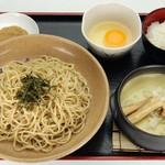 元喜神 - 鶏白湯つけめん 780円 ご飯と生玉子がついていて、麺を食べた後、雑炊ができます