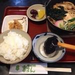 そば処 吉まん - 日替り定食(味噌煮込みうどん、ごはん、おかず一品、香の物)