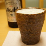 日本料理くらよし - ドリンク写真:ビールはアサヒでした、陶器の器で、丹波立杭?