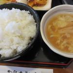 旬菜中華工房 - ご飯に卵とえのきのスープ。