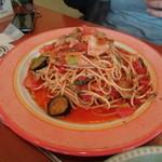 レストランひげじい - ガーリックナスベーコンスパゲティーの大盛り
