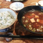 岡本庵 - シソご飯&味噌汁