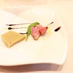 Bistrot Enry. - アミューズ:焼き茄子のムースと鴨胸肉のロースト '13 10月下旬
