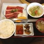 山形牛ステーキ&焼肉 かかし - 山形牛カルビ定食 1340円