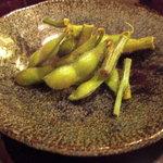 京料理 江森 - 場凌ぎに供してくれた枝豆。