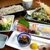稲田屋 - 料理写真:そば会席膳:2300円 お昼の会食にご利用ください。※要予約 前菜三種盛り、お造り(中トロ、他2種)サラダ、海老と穴子の天ぷら、そば、くりーむあんみつ