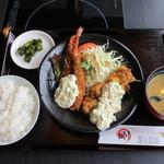 しゃぶしゃぶ剛 - チキン南蛮とエビフライのコンボ定食 (490円)