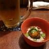まんぎょく - 料理写真:生ビールと付きだし