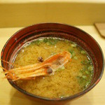 鮨処もり山 - 海老のお味噌汁。