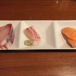 ゆう - 刺身 三品 鰤、鯛、サーモン