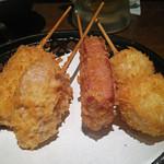 串かつ専門店 串+串 - Aコース(鶏肉,蓮根,ハムカツ,鶉玉子)