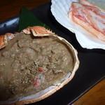 和食個室×しゃぶしゃぶ鍋 にっぽん市 - 蒸しガニと蟹味噌甲羅焼き(780円)