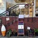 ヘルシーアイランド・カフェ - 入り口は美容室と同じ!