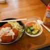 ログハウス - 料理写真:タルタルチキンの大盛り、サラダ、ペットのお茶。 〆て690円のランチ