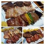 藤よし - 焼き鳥登場!「とん」「椎茸」「ばら」「銀杏」「肝」など。 丁寧に焼かれています。タレは上品なお味で美味しい。