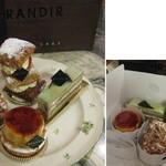 グランディール - お皿の奥がミルフィーユ・オ・フレーズ430円、左はフォレ450円、右はソンヌ480円、手前がシブースト・オ・ポム450円 持ち帰りのケーキは倒れないように梱包してもらえます 2013.12.11撮影