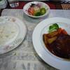 キッチン森本 - 料理写真:ハンバーグランチ(デミソース150g) 1280円 これにコーンスープとコーヒー付
