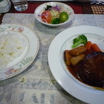 キッチン森本 - ハンバーグランチ(デミソース150g) 1280円 これにコーンスープとコーヒー付