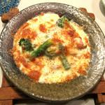 藤石 - 貝柱と緑野菜とトマトのチーズ焼き【'13.12月】
