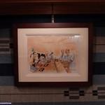 すきやばし 次郎 - 米国ディズニー本社の社長から「次郎」さんへのお誕生日プレゼントの世界に1枚の絵だそうです。