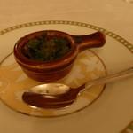 アルポルト - バイ貝ときくらげのココット、香草バター焼き