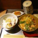 23400716 - さつまいも御飯、鶏と白菜の玉子とじ