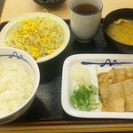松屋 - 豚バラ焼肉定食550円  (タレをかけた後)