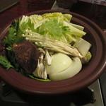 旬膳処 茶目 - 最初は野菜のみがコンロで