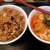 なか卯 - 料理写真:担々うどんと牛丼のセット。