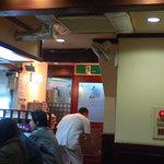 手打ちうどん 鶴丸 - 店内です。入口付近で白いを着ている人が親父さんです。
