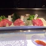 里味 - 神戸牛焼きしゃぶ盛り合わせ。