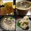 晩菜 井の - 料理写真:◆「ビール」「焼酎」、、お通しの「おぼろ豆腐」、、ポテトサラダ。ポテトサラダは卵が入った家庭的なお味でした。